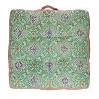 ZELLIGES - floor cushion - cotton / viscose - L 50 x W 50 x H 8 cm - green