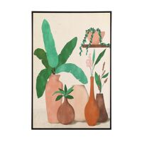 NATURE (6) - canvas with frame - linen / wood - L 80 x W 4,3 x H 120 cm - multicolor