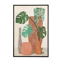 NATURE (5) - canvas with frame - linen / wood - L 80 x W 4,3 x H 120 cm - multicolor
