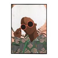 LUNETTES - canvas with frame - linen / wood - L 100 x W 4,3 x H 140 cm - green