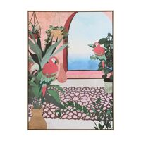 PERROQUET - canvas with frame - linen / wood - L 100 x W 4,3 x H 140 cm - coral