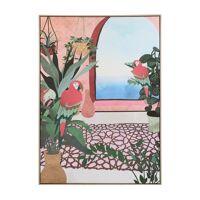 PERROQUET - canvas met kader - linnen / hout - L 100 x W 4,3 x H 140 cm - koraal