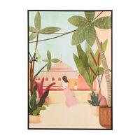 POINT DE VUE - canvas with frame - linen / wood - L 100 x W 4,3 x H 140 cm - peach
