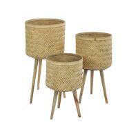 JNANA - set/3 pots à fleurs - bambou - DIA 28,5/32/36 x H 48,5/59/68,5 cm - naturel