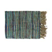 NATARAJ - plaid - linnen / viscose - L 170 x W 130 cm - blauw