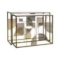 LACE - set/2 meubles console - métal / verre - L 100/90 x W 35/32 x H 75/70 cm - or