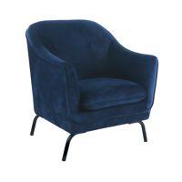 LUSSO - armchair - velvet / metal - L 80 x W 76 x H 86 cm - blue