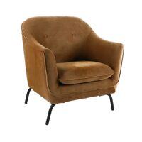 LUSSO - fauteuil  - velvet / metaal - L 80 x W 76 x H 86 cm - karamel