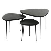 AXIO - set/3 tables d'appoint - marble - L 40/54/74 x W 40/52/68 x H 36/41/45 cm - noir