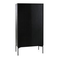 PUDONG - armoire - placage de chêne / métal - L 80 x W 40 x H 161 cm - noir