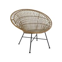 AIX - chaise relax - rotin / métal - L 84 x W 93,5 x H 79 cm - blanc