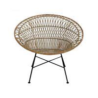 AIX - relaxstoel - rotan / metaal - L 84 x W 93,5 x H 79 cm - wit