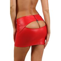 Red miniskirt in wetlook with opening