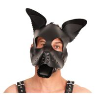 Leather Puppy Mask - Black Ears & Tongue