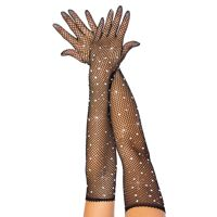 Rhinestone opera length gloves