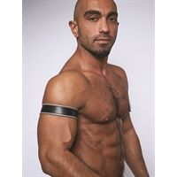 Leather Biceps Band Black Grey