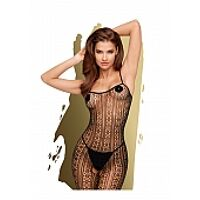 Dark wish - Crotchless bodystocking with ring crochet