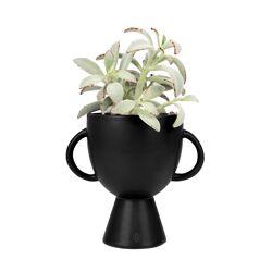 Bloempot met handvatten keramiek zwart / Zusss