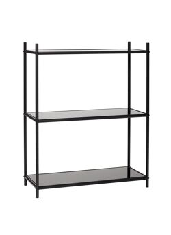 Black metal shelf unit w/glass shelves