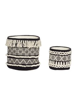 Basket, round, cotton, black/white
