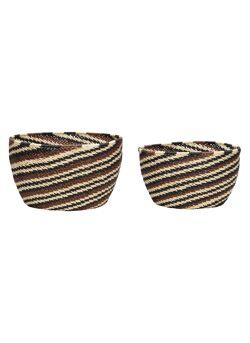 Basket, round, black/brown/nature