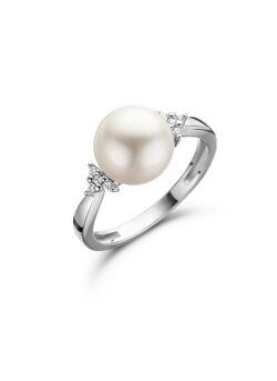 Wit gouden ring met parel en briljant