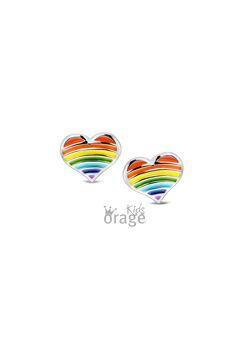 Orage Kids - Hartjes oorsteker in regenboog kleuren