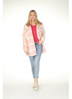 Oversized jas geruit wol