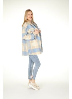 Oversized jas geruit-beige wol knopen