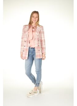 Blazer channel-look geruit knopen