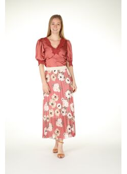 jup maxi grnd-Roses pliesse-voile taill/elast-lurex