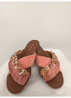 slipper franjes brillant