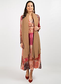 Gustav - Loose Woven Scarf - Brown