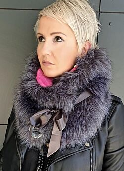 Les Blondinettes - Foulard Grey With Fuchsia