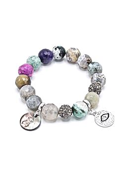 Les Blondinettes - Agaat Multi/Zilver - Armband - Ornement