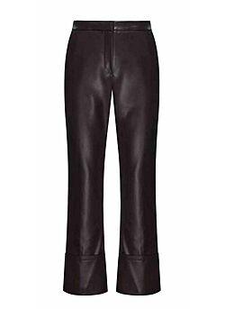 Beatrice - Pants Leatherlook - Darkbrown