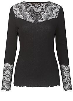 Rosemunde - Silk Tshirt Regular Lange Mouw Kant - Zwart