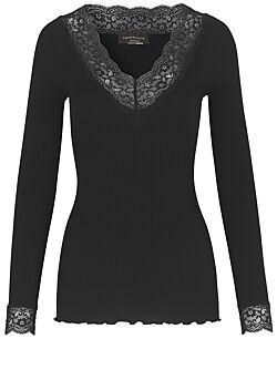 Rosemunde - Organic Tshirt V-Hals Regular Lange Mouw Kant - Zwart