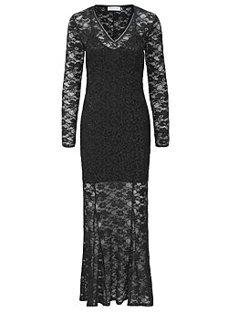 Rosemunde - Lange kanten jurk - Zwart