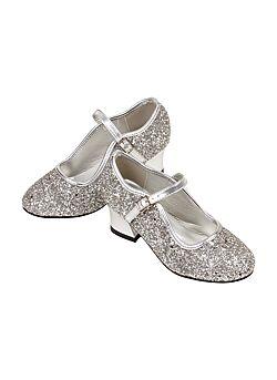Schoentjes hoge hak Margeurita, zilver glitter, maat 31