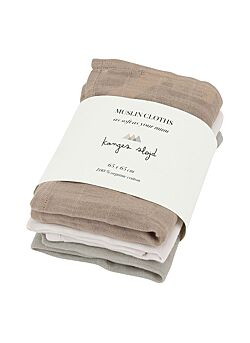 KONGES SLOJD: 3 PACK MUSLIN CLOTHS ROSE DUST