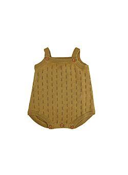 La petite collection: katoenen knit romper suit: brass