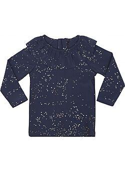 UV zwem shirt by konges slojd: stars/ shiny gold: ruffle: swimwear