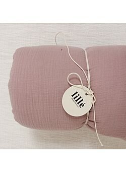 LILLE: tetra deken met vulling en kussentje : dusty pink