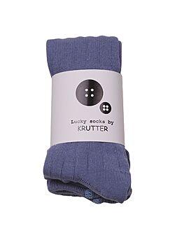 broekkousen van KRUTTER: blauw-grijs -ribbed tights