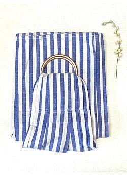 Ringsling: rosé gouden ringen: blue striped