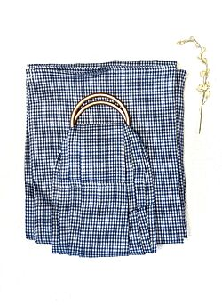 Ringsling: rosé gouden ringen: blue/white squared
