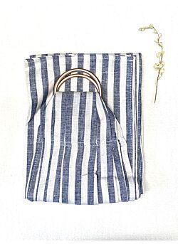 Ringsling: rosé gouden ringen: white: dark blue stripe