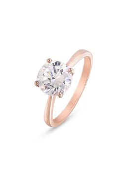 Ring in rosé zilver, zirkonia, 8 mm