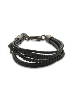 Armband in edelstaal, mix, zwart